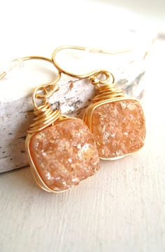 Champagne Druzy earrings Bezel wrapped 14K goldfilled