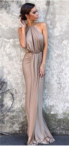 Sleeveless Plunge V Neck Halter Cut Out Back Ruched Draped Maxi Dress,MB 401