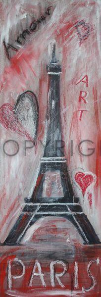Paris Collage gemalt von Christine Bässler als Artprint oder Poster