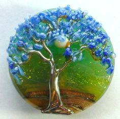 Lampwork Tree Bead Focal Large 32 MM Spree Lentil Art by carabeads,