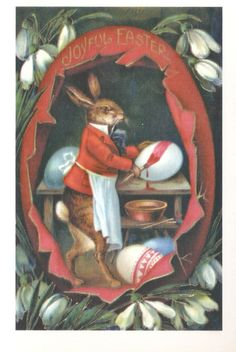 """Vintage Easter Bunny Egg Coloring Easter Card - Vintage Easter Greeting Card!  Outside Greeting: Joyful Easter Inside Greeting: Blank  Our vintage Easter cards feature adorable animals, charming children, and whimsical greetings, often in pun form.  Measures 7"""" x 5"""" Includes envelope  http://www.aycaramba.us/#!product/prd1/2136915135/vintage-easter-bunny-egg-coloring-easter-card"""