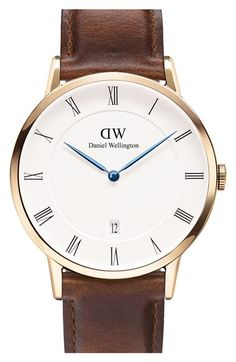 Daniel Wellington 'Dapper St. Mawes' Leather Strap Watch, 38mm available at #Nordstrom Brown and Rose Gold!!! Love the blue hands on the face of the watch! <3