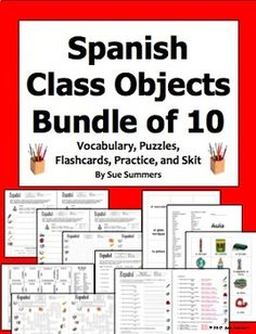 Spanish Class Objects Bundle of 10 - Vocabulary, Practice, Puzzles, Cards, and Skit by Sue Summers Spanish Words, Spanish Class, English Words, Learning Spanish, Spanish English, English Vocabulary List, Spanish Vocabulary, Vocabulary Practice, Vocabulary Words