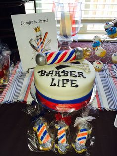 Barber Cake & Barber Pole cookies