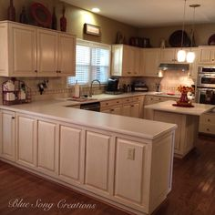 This is a kitchen I just finished. Love the glaze - beautiful custom finish! Finish by Blue Song Creations Blue Song, Painted Furniture, Glaze, Songs, Kitchen, Beautiful, Home Decor, Enamel, Cooking