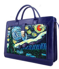 Borsa cartella dipinta a mano - La notte stellata di Van Gogh