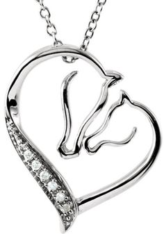 A Mare and Foal Nuzzle Each other Lovingly Creating a Gorgeous Heart Outline in This Touchingly Sweet Sterling Silver Pendant. 6 Diamond Accents Add Sparkle. NOTE: The very facets that create the beau