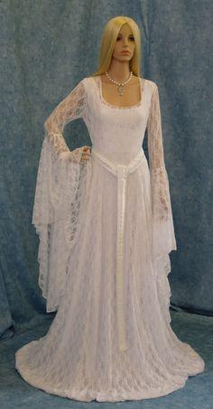 robe de mariage de dentelle blanche, robe elfique, médiévale robe de mariée, robe de cosplay, fait sur commande de mariage