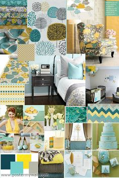 Aqua, Grey, Yellow...good stuff.