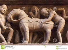 Mounting A Horse: Sculptures On Hindu Temple In India's Khajuraho ...