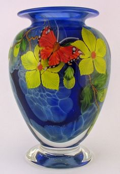 Mayauel Ward - Vase - Blue Clouds with Butterfly and Flowers