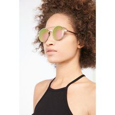 Venus Round Brow Bar Sunglasses ($18) ❤ liked on Polyvore featuring accessories, eyewear, sunglasses, gold, gold round glasses, urban outfitters sunglasses, round glasses, gold sunglasses and rounded glasses