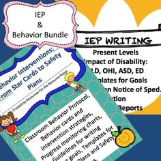 Tools For Special Education:  IEP Writing Templates Classroom Behavior Guidelines, Behavior Interventions, Progress Monitoring for Behavior, Safety Plan Templates