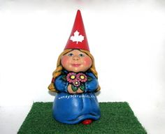 Ceramic Female Garden Gnome with website for Marketing