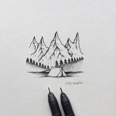 Lil camping scene. #art #illustration #mountains #camping