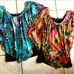 Pair of Colorful Batwing Tops Excellent condition. Labeled as petite medium, but I always wear small and they fit like small-medium. Camisole attached under each shirt new directions Tops Blouses