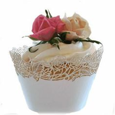 Wedding Cupcake Wrappers - Cupcake Wrapper Rose Off White/Cream