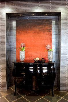 Lay rectangular tiles in a brick-like pattern to create an arresting feature wall behind a classic furniture piece Feature Walls, Trendy Home, Classic Furniture, Floors, Brick, Tiles, Make It Yourself, Create, Pattern