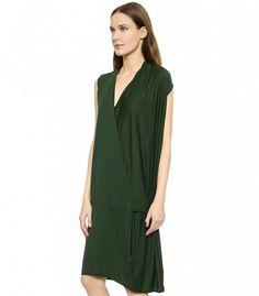 Wear it with a red lip // Acne Studios Natifa Tencel Draped Dress in Hunter Green