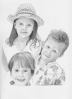 "Pencil drawing - ""3 Grandchildren"""
