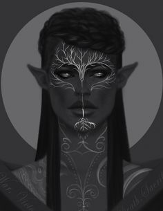 "dahliadrawthings: "" ""In War, Victory. In Peace, Vigilance. In Death, Sacrifice."" ________________________________________________ A quick 1,5 hr painting I did from my blind dalish mage, Eruanna Mahariel. This is how she'd look like in..."