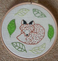 Simple fox embroidery