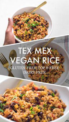 This Vegan Instant pot Tex-Mex rice is a super easy vegan instant pot dinner that you've been craving. Mexican Food Recipes, Whole Food Recipes, Vegetarian Recipes, Dinner Recipes, Dairy Free Rice Recipes, Lunch Recipes, Free Recipes, Dinner Ideas, Tex Mex