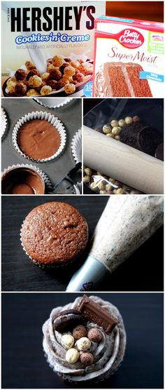 Hershey's Cookies & Cream Cereal + @Betty Crocker SuperMoist Cake Mix = Cereal Cupcakes FTW!