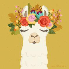 Contemporary Mexican folk art graphic llama print Flowers are always a good idea. Alpacas, Alpaca Illustration, Cute Illustration, Llama Arts, Llama Llama, Llama Print, Llama Pictures, Llama Birthday, Illustrations
