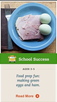 Let your preschooler assist you in making green eggs and ham! Click for details. #SchoolSuccess #kidscooking