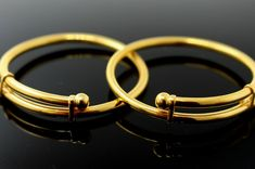 Product Details Style Baby Bangle Size inch Metal Yellow Gold Metal Purity Weight grams Diamension n/a Plain Gold Bangles, Gold Bangles For Women, Mens Gold Bracelets, Gold Bangles Design, Gold Earrings Designs, Gold Jewellery Design, Gold Jewelry, Solid Gold Bangle, Baby Jewelry