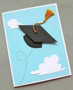 Simple grad card, easy to make Graduation Cards Handmade, Graduation Crafts, Greeting Cards Handmade, Cute Cards, Diy Cards, Congratulations Graduate, Creative Cards, Clipart, Homemade Cards