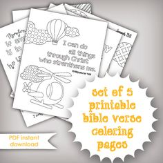 Set of 5 Bible Memory Verse Coloring Pages for Kids - Instant Download - Printable .PDF Files - Kids Activities