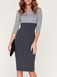 Noble Round Collar 3/4 Sleeve Color Block Bodycon Dress For Women