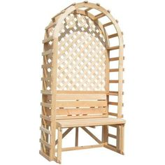 80 In. X 42 In. Bench And Trellis Backdrop Pine Rose Arbor