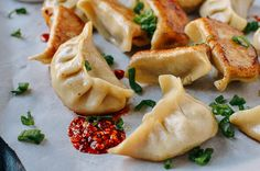 Chicken Dumplings with Shiitake Mushrooms, by thewoksoflife.com