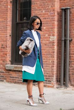 The NYFW Street Style Looks That Truly Stunned #refinery29  http://www.refinery29.com/2014/09/73987/new-york-fashion-week-2014-street-style-photos#slide-175  Margaret Zhang layers up. Tibi blazer; Dion Lee shirt; Mode Collective heels. ...
