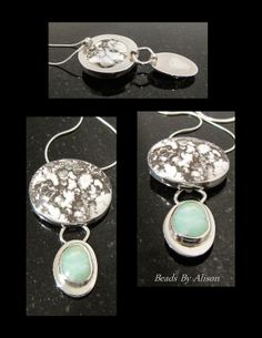Datolite & Hemimorphite sterling silver bezel set pendant. Cabochons by Bob Wright & Cabochon. Silver by Beads By Alison. Pendants - Beads By Alison