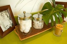 Decorative Items - Get creative with counter space by scattering decorative baskets and containers about. Throw in personal items such as a photo or two...and a plant.