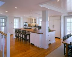 There is no question that designing a new kitchen layout for a large kitchen is much easier than for a small kitchen. A large kitchen provides a designer with adequate space to incorporate many convenient kitchen accessories such as wall ovens, raised. Kitchen Post, Open Kitchen, Kitchen Redo, Kitchen Remodel, Kitchen Dining, Kitchen White, Kitchen Renovations, Kitchen Ideas, Galley Kitchen Design