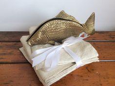 Vintage Brass Fish Large napkin holder Festive by Berlinattic