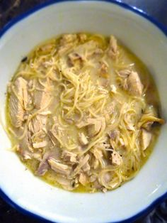 Chicken Soup with Crème Fraîche and Capellini ~ this authentic French recipe features a small amount of Madeira wine for flavor
