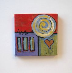 Acrylic Heart Miniature Abstract Painting mini by BrookeHowie, $29.00