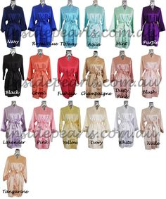 Set of 8 Monogrammed Robes Personalised Bride Robe Bridesmaid robes Silk wedding robes Bridal Party gift Satin Robes Name Customised Robes. Wedding Gifts For Bridesmaids, Bridesmaid Robes, Gifts For Wedding Party, Wedding Bride, Dream Wedding, Satin Dressing Gown, Navy Pink, Pink White, Coral