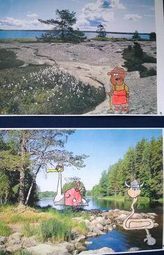 Oppilaat piirsivät mallista Mauri Kunnaksen Koirien Kalevala-kirjasta haluamansa hahmot ja valitsivat mieleisensä Suomi-maiseman, joihin niitä kiinniteltiin. Tykkäsivät työstä tosi paljon! (Alakoulun aarreaitta FB -sivustosta / Satu Juslenius)
