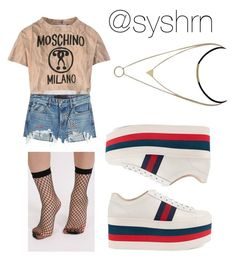 """""""Untitled #683"""" by syshrn ❤ liked on Polyvore featuring Moschino, T By Alexander Wang, Pilot and Gucci"""
