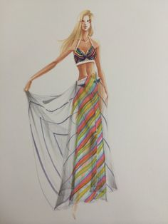 Sheer drape with stripes rendering3 by Leah Won