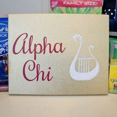 Big Little Reveal Week - Day 1 Box of Favorites Alpha Chi Omega AXO Canvas Lyre and Pearls