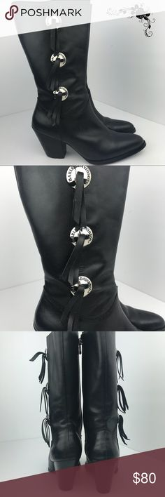 the best attitude 254e7 5276a Harley-Davidson Metal Tassel Boots Classic black leather Harley-Davidson heeled  boots. Silver