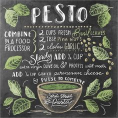 Lily & Val - Pesto Recipe (English) - Plus Size Fashion & Dress Food Art, A Food, Food And Drink, Cooking Tips, Cooking Recipes, Lily And Val, Chalk Lettering, Food Journal, Food Drawing